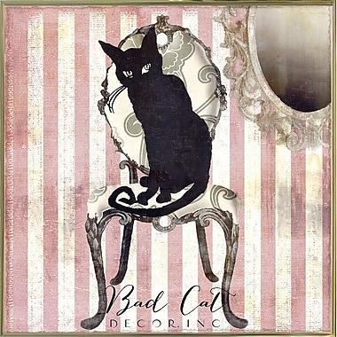 Ebern Designs 'Bad Cat I' Graphic Art Print; Metal Gold Framed