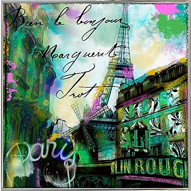 Ebern Designs 'To Paris w/ Love II' Graphic Art Print; Metal Silver Framed