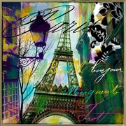 Ebern Designs 'To Paris w/ Love I' Graphic Art Print; Metal Gold Framed