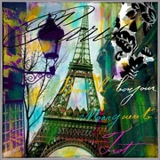 Ebern Designs 'To Paris w/ Love I' Graphic Art Print; Metal White Framed