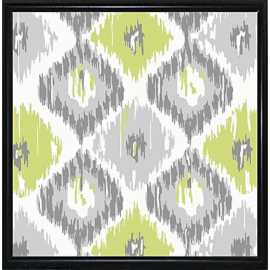 Ebern Designs 'Calyx Ikat' Graphic Art Print; Metal Flat Black Framed