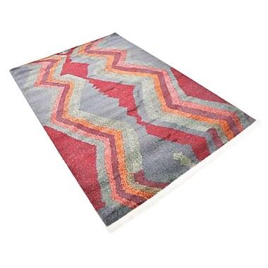 Ebern Designs Backus Gray/Red Area Rug; Rectangle 4'3'' x 6'