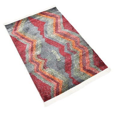 Ebern Designs Backus Gray/Red Area Rug; Rectangle 2'2'' x 3'