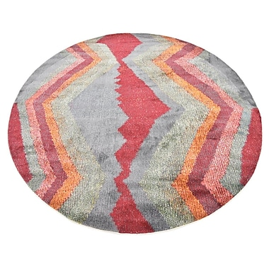 Ebern Designs Backus Gray/Red Area Rug; Square 5'5'' x 5'5''