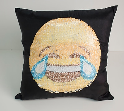 East Urban Home Emoji Smile/Cry Throw Pillow