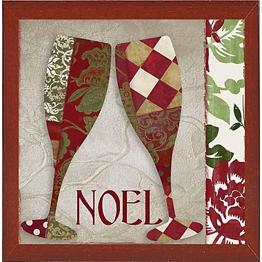 The Holiday Aisle 'Holiday Cheer Two' Graphic Art Print; Red Mahogany Medium Framed