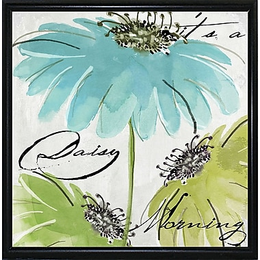 August Grove 'Daisy Morning II' Print; Metal Flat Black Framed
