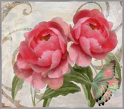 August Grove 'Apricot Peonies I' Graphic Art Print; Metal White Framed