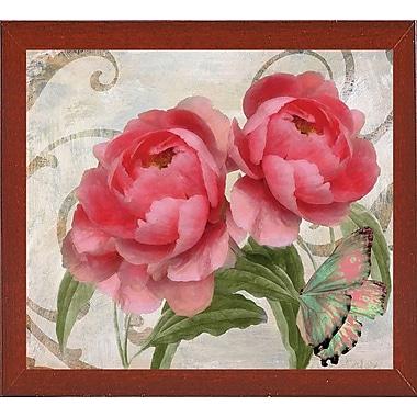 August Grove 'Apricot Peonies I' Graphic Art Print; Red Mahogany Medium Framed