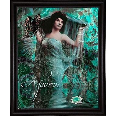 East Urban Home 'Art Nouveau Zodiac Aquarius' Graphic Art Print; Bistro Expresso Framed