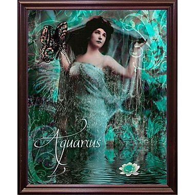 East Urban Home 'Art Nouveau Zodiac Aquarius' Graphic Art Print; Cherry Grande Framed