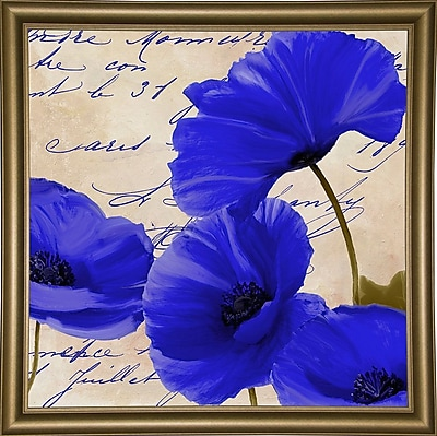 August Grove 'Coquelicots Bleues I' Graphic Art Print; Bistro Gold Framed