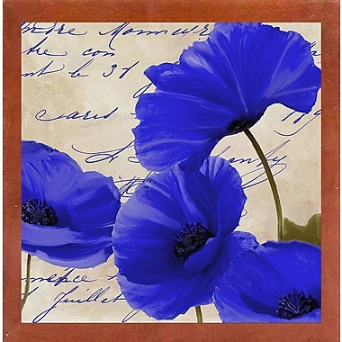 August Grove 'Coquelicots Bleues I' Graphic Art Print; Canadian Walnut Medium Framed