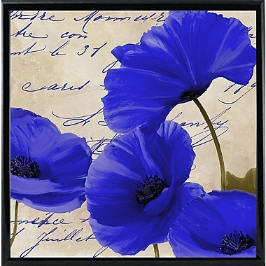 August Grove 'Coquelicots Bleues I' Graphic Art Print; Metal Shiny Black Framed