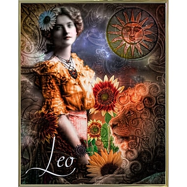 East Urban Home 'Art Nouveau Zodiac Leo' Graphic Art Print; Metal Gold Framed
