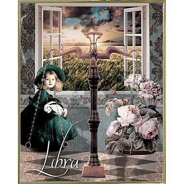 East Urban Home 'Art Nouveau Zodiac Libra' Graphic Art Print; Metal Gold Framed