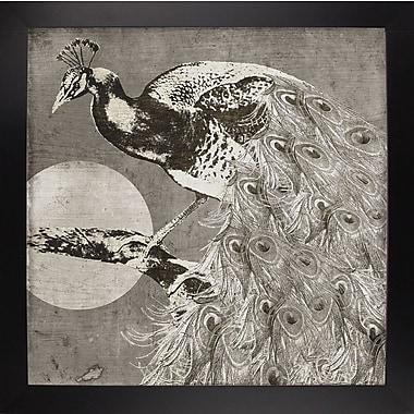 East Urban Home 'Moon Peacock' Graphic Art Print; Black Large Framed
