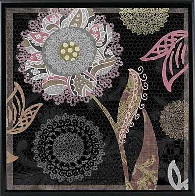 August Grove 'Daisy Cartwheels I' Graphic Art Print; Metal Shiny Black Framed