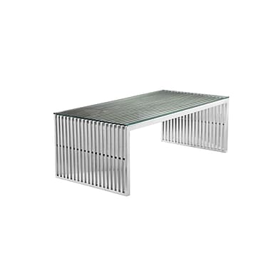 Everly Quinn Hoang Rectangle Coffee Table; Silver