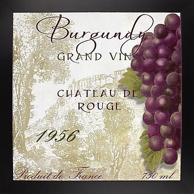 Fleur De Lis Living 'Grand Vin Burgundy' Graphic Art Print; Black Large Framed