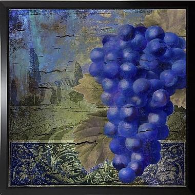 Fleur De Lis Living 'Vino Blu One' Graphic Art Print; Plastic Black Framed