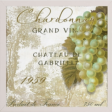 Fleur De Lis Living 'Grand Vin Chardonnay' Graphic Art Print; White Medium Framed