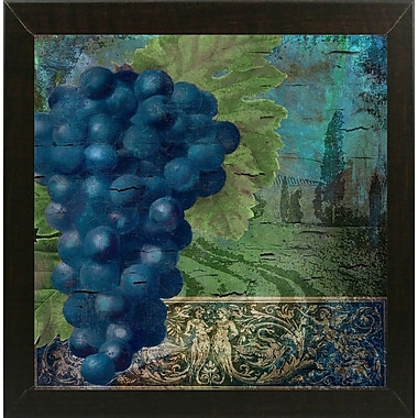 Fleur De Lis Living 'Vino Blu Two' Graphic Art Print; Brazilian Walnut Medium Framed