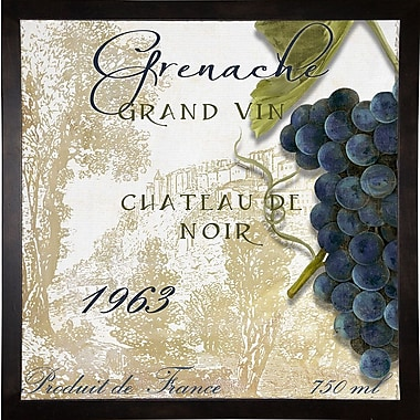 Fleur De Lis Living 'Grand Vin Grenache' Rectangle Graphic Art Print; Cafe Espresso Framed