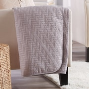 Highland Dunes Aline Printed Quilted Throw; Pewter