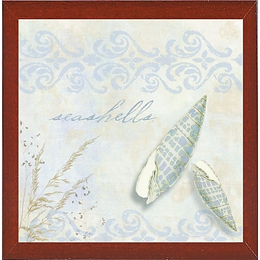 Highland Dunes 'She Sells Seashells II' Graphic Art Print; Red Mahogany Medium Framed