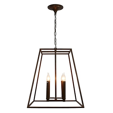 Gracie Oaks Gawon 4-Light LED Geometric Pendant; Rustic Bronze