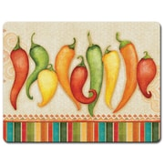 HighlandHome Chili Peppers Glass Cutting Board