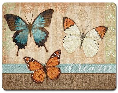 HighlandHome Butterflies Glass Cutting Board