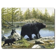 HighlandHome Bear Mom and Kids Glass Cutting Board