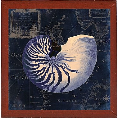 Highland Dunes 'Maritime Blues V' Graphic Art Print; Red Mahogany Medium Framed