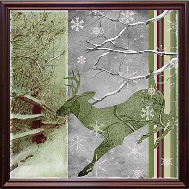 Loon Peak 'Country Xmas Deer' Graphic Art Print; Cherry Grande Framed
