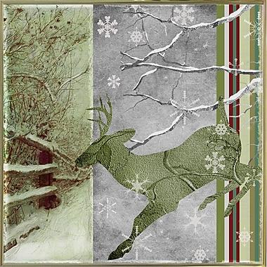 Loon Peak 'Country Xmas Deer' Graphic Art Print; Metal Gold Framed