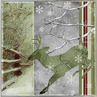 Loon Peak 'Country Xmas Deer' Graphic Art Print; Metal Silver Framed