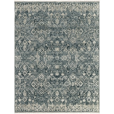 One Allium Way Gerhardine Hand Knotted Teal/Black Area Rug; Rectangle 8' x 10'