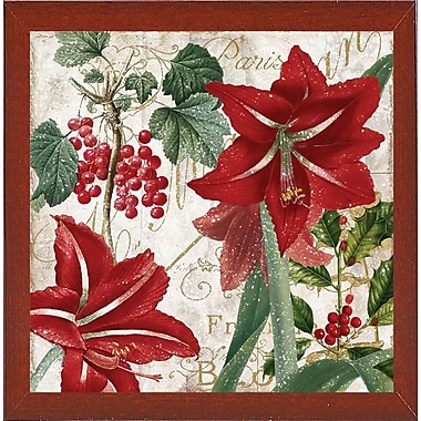The Holiday Aisle 'Christmas' Rectangle Graphic Art Print; Red Mahogany Medium Framed