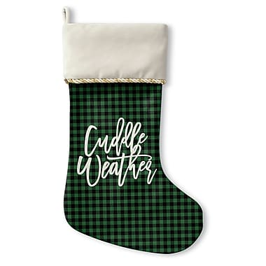 The Holiday Aisle Cuddle Weather Holiday Stocking w/ Single Sided Print; Green/Black