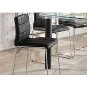 Orren Ellis Len Upholstered Dining Chair (Set of 2); Chrome/Black