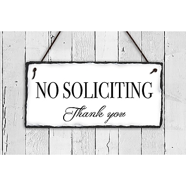 SassySquirrelInk No Soliciting Slate 2-Line Hanging Sign; White