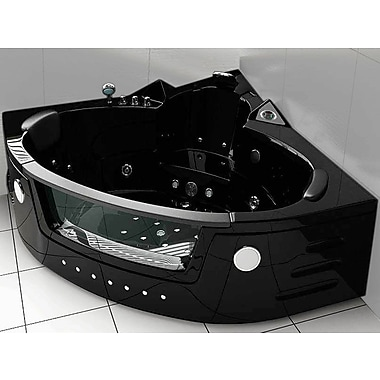 Simba USA Hydrotherapy 59'' x 59'' Corner Whirlpool Bathtub; Black