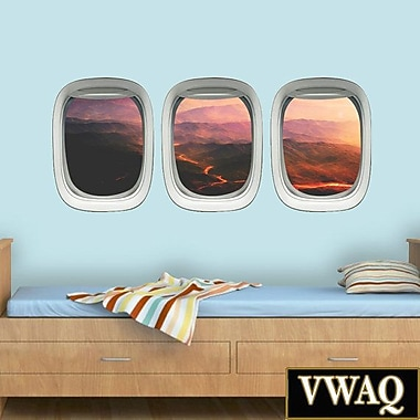 VWAQ Airplane Window Peel and Stick Mountain Volcano Aerial View 3 Piece Wall Decal Set