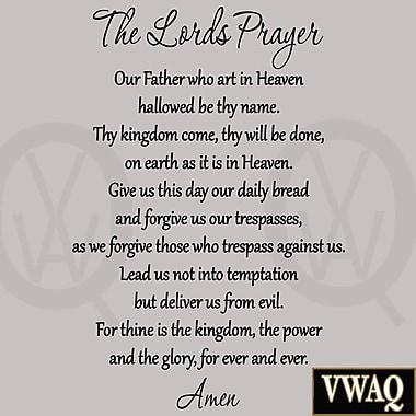 VWAQ The Lord's Prayer Bible Wall Decal