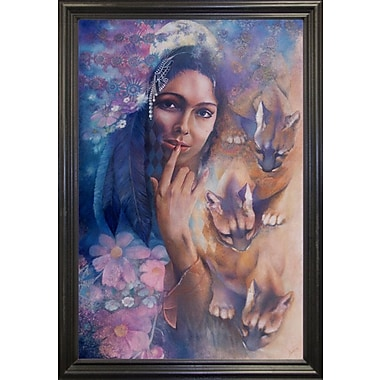 The Holiday Aisle 'Cougar Moon' by Denton Lund Framed Painting Print; Black Grande Framed
