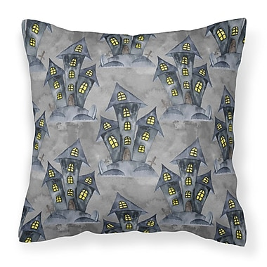 The Holiday Aisle Watecolor Halloween Haunted House Outdoor Throw Pillow