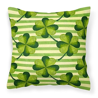 The Holiday Aisle Watercolor Shamrock Stripes Outdoor Throw Pillow