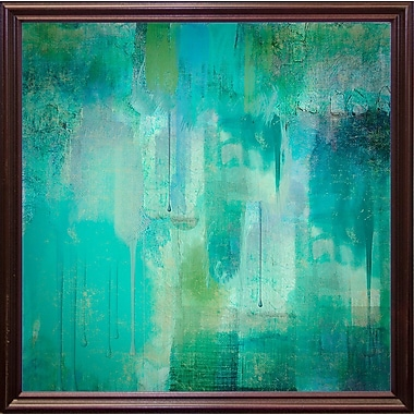 Varick Gallery 'Aqua Circumstance' Painting Print; Cherry Grande Framed